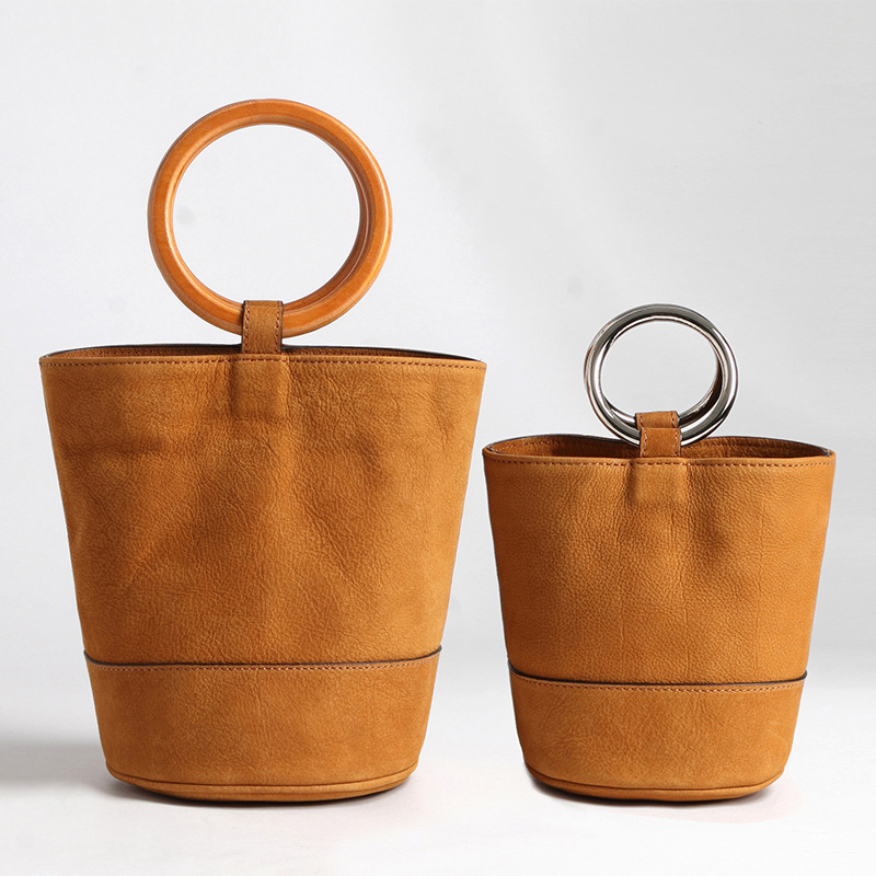 2018 New Metal Ring Portable Retro Female Bag Suede Head Layer Leather Pot Bag Bracelet Bucket Bag