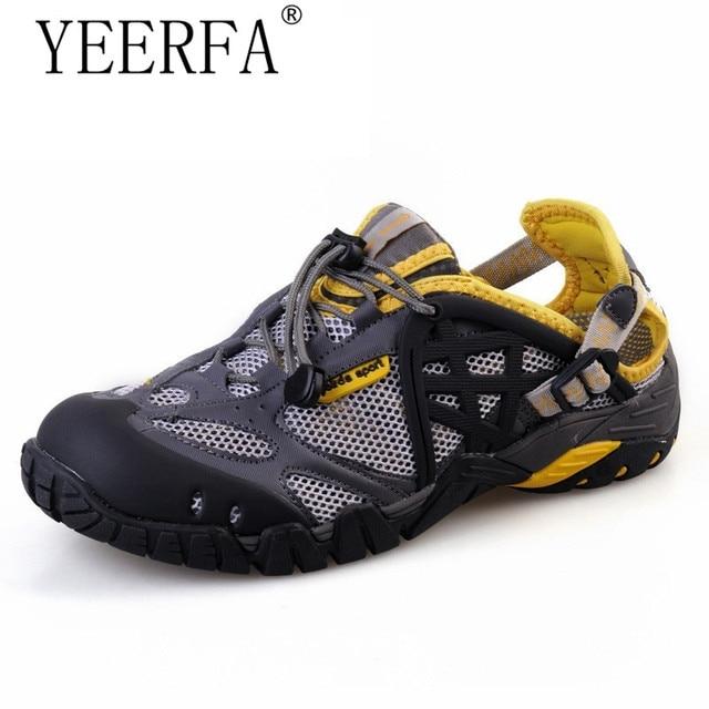 YIERFA Respirant Chaussures Hommes D été En Cuir Chaussures de Marche 2017  Imperméable À L 7d873245344