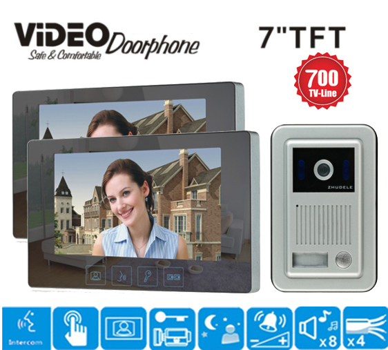 ZHUDELE 7 Color Video Door Phone Video Intercom Doorphone Night Vision Camera Doorbell Kit for Home one to two intercom system