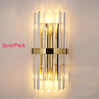 Luxury crystal gold wall sconce bedside wall lamp living room bedroom DIY wall light 2pcs/pack CE ROHS SAA UL G4 bulb included