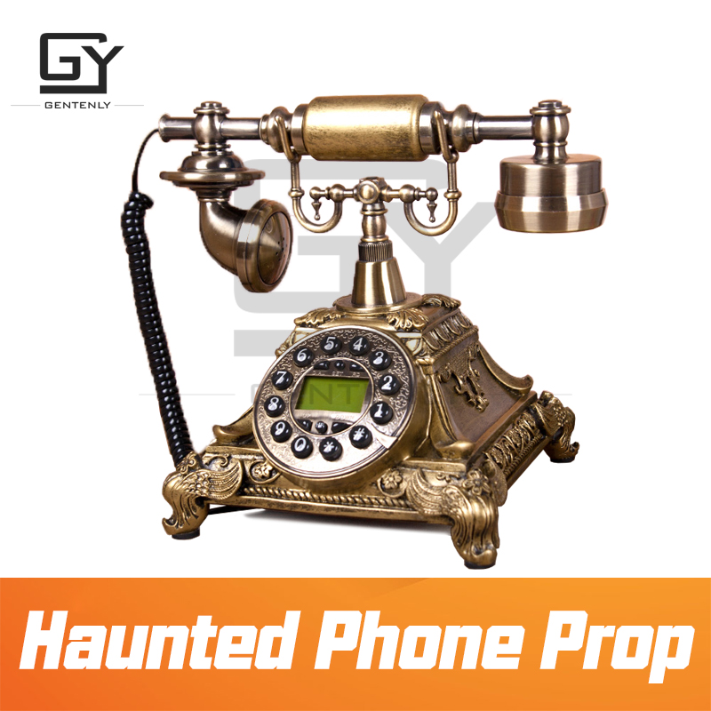 Real life escape room props haunted phone prop dial correct number to release magnet lock with
