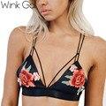 Wink gal sexy negro push up bra mujeres bordado de la ropa interior con tirantes sujetador v profundo wirefree bralette superior backless intimates