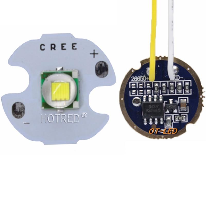 Cree XML XM-L T6 Cool White Neutral White Warm White 10W High Power LED Emitter On 16mm Black Or White PCB+ DC3.7V 5 Mode Driver