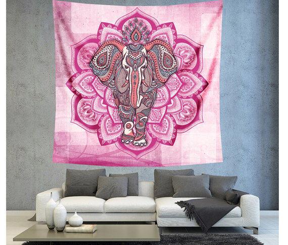 Online Shop Mandala Elephant Tapestry Indian Animal Floral Hanging ...