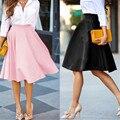Señoras midi faldas para mujer de verano 2016 de cintura alta plisada falda skater vintage saia feminina jupe longue femme