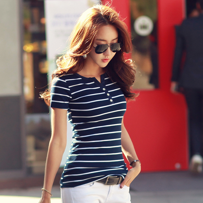T Shirt femme 2017 Summer Striped T Shirts Button V Neck Short Sleeve Womens Clothing Female