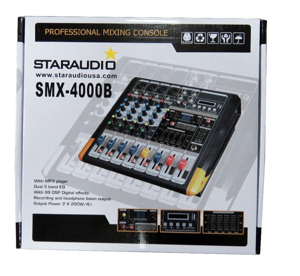 STARAUDIO Pro 4 Channel Mixing Console DJ Audio Powered Amplifier Mixer W/2CH VHF Wireless Microphone SMX-4000B