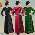 2016 Apliques de Renda Novas Jilbabs Abayas Caftan Vestuário Árabe Robe Turquia Oriente médio Muçulmano Mulheres Vestido de Moda Tamanho Grande