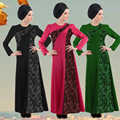 2016 Appliques Lace New Jilbabs Abayas Caftan Arab Garment Robe Turkey Middle East Muslim Women Dress Fashion Large Size