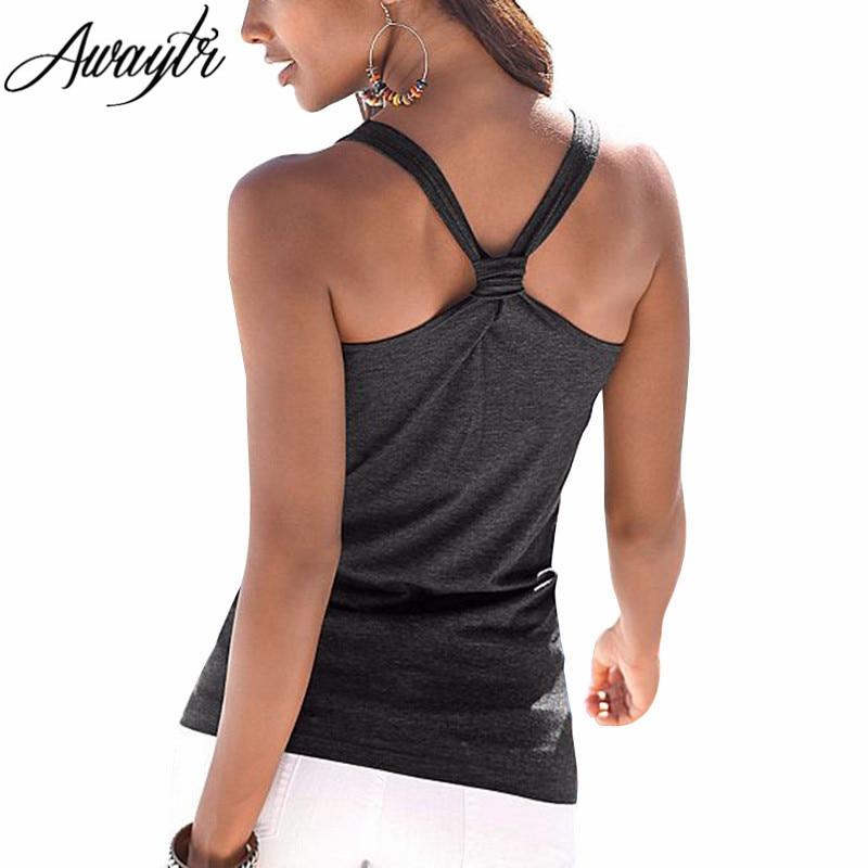 Awaytr Spring Summer New Tanks Womens Tops Women Sleeveless Round Neck Loose T Shirt Ladies Vest Singlets Backless Tank Tops