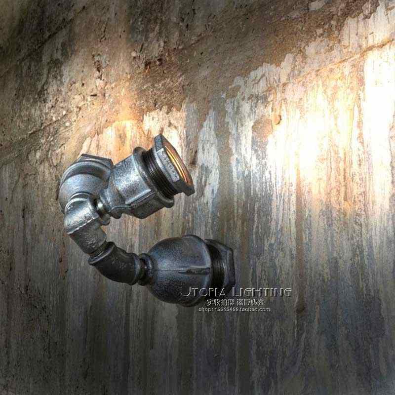 Лофт Стиль Утюг бра творческий двойной водопровод лампы промышленное Винтаж настенные светильники светодиодные Освещение в помещении