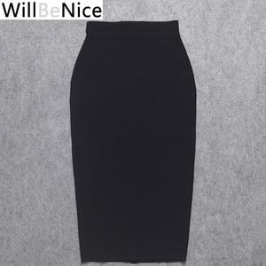 Image 3 - WillBeNice jupe moulante pour femmes, noire, taille haute, fendue à larrière, Sexy, mi mollet à bandes, crayon à bandes, vente en gros, 2019