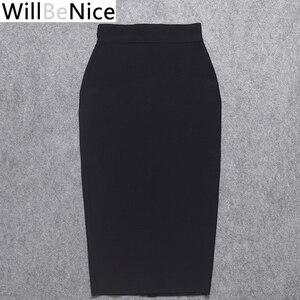 Image 3 - Черная Женская юбка карандаш WillBeNice с высокой талией и разрезом на спине, облегающая розовая юбка карандаш до середины икры, 2019