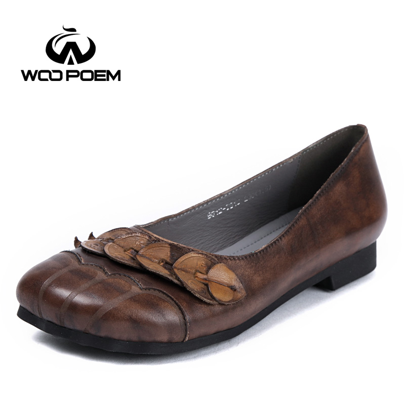 WooPoem Brand Shoes Woman Genuine Leather Flats Low Heel Soft Rubber Sole Retro Style Cow Leather Big Size 42 Women Shoes 8612 france tigergrip waterproof work safety shoes woman and man soft sole rubber kitchen sea food shop non slip chef shoes cover