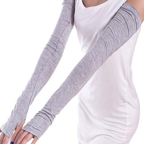 Women Girl Fashion Warm Arm Warmer Long Fingerless Gloves Cotton Sleeves