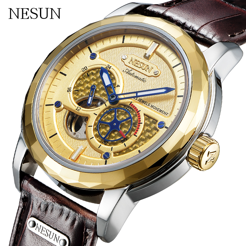 NESUN Sport Watches Men Fashion Tourbillon Mechanical Waterproof Wristwatches Automatic Self-Wind Luxury Watch Relogio Masculino fashion sewor watches mens self wind automatic mechanical watch auto date analog leather sport men wrist watch relogio masculino