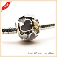 Beads 100% 925 Sterling Silver Luminous Hearts Charm Beads Mother Of Pearl & 14K Gold Fit Pandora Bracelets YL387K