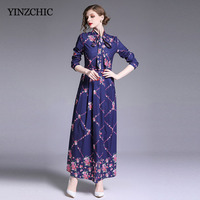 Floral Printed Woman Long Dress Bow neck Female Party Dresses Slim A line Blue Dress Woman OL Elegant Spring Dress