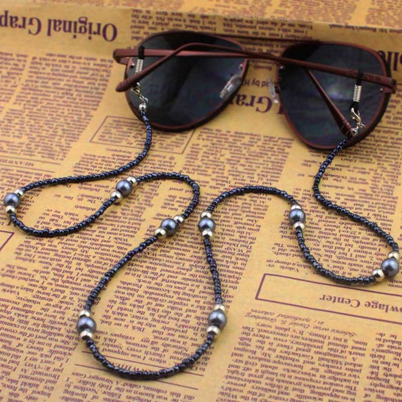 Fashion Handmade Eyeglass Chain Black White Glass Beads Chains Anti-slip Eyewear Cord Holder Neck Strap Rope For Reading Glasses