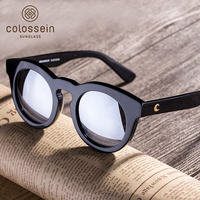 COLOSSEIN Orange Label Light Weight Frame Small Face Fashion Sunglasses For Women Mirror Lens