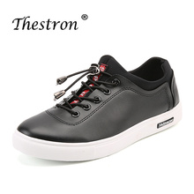 Купить с кэшбэком 2018 Hot Men Original Leather Shoes Luxury Brand Men Shoes Rubber Flats Sneakers Male Black Fashion Men Young Casual Shoes