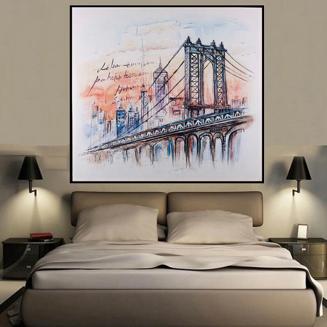 square abstract famous bridge landscape style wall art oil painting home decoration bedroom living room paintings - Living Room Paintings