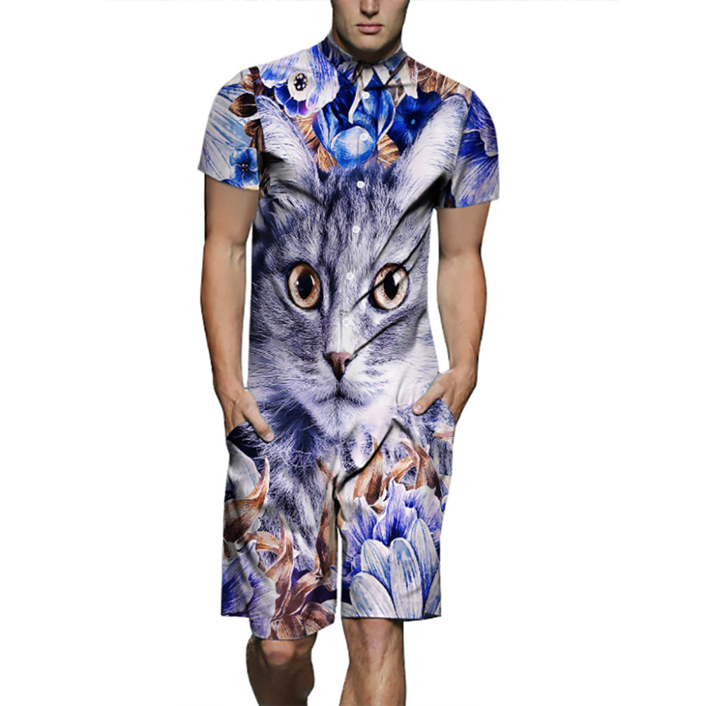 2019 Men's New Fashion Summer Casual Fashion Short Sleeve Fitted Suit Printed Cat Tracksuit Men Chandal Hombre Busos Para Hombre