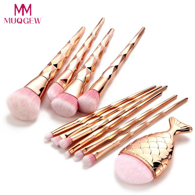11Pcs Diamond Rose Gold Makeup Brush Set Mermaid Fishtail Shaped Foundation Powder Cosmetic Brushes Set