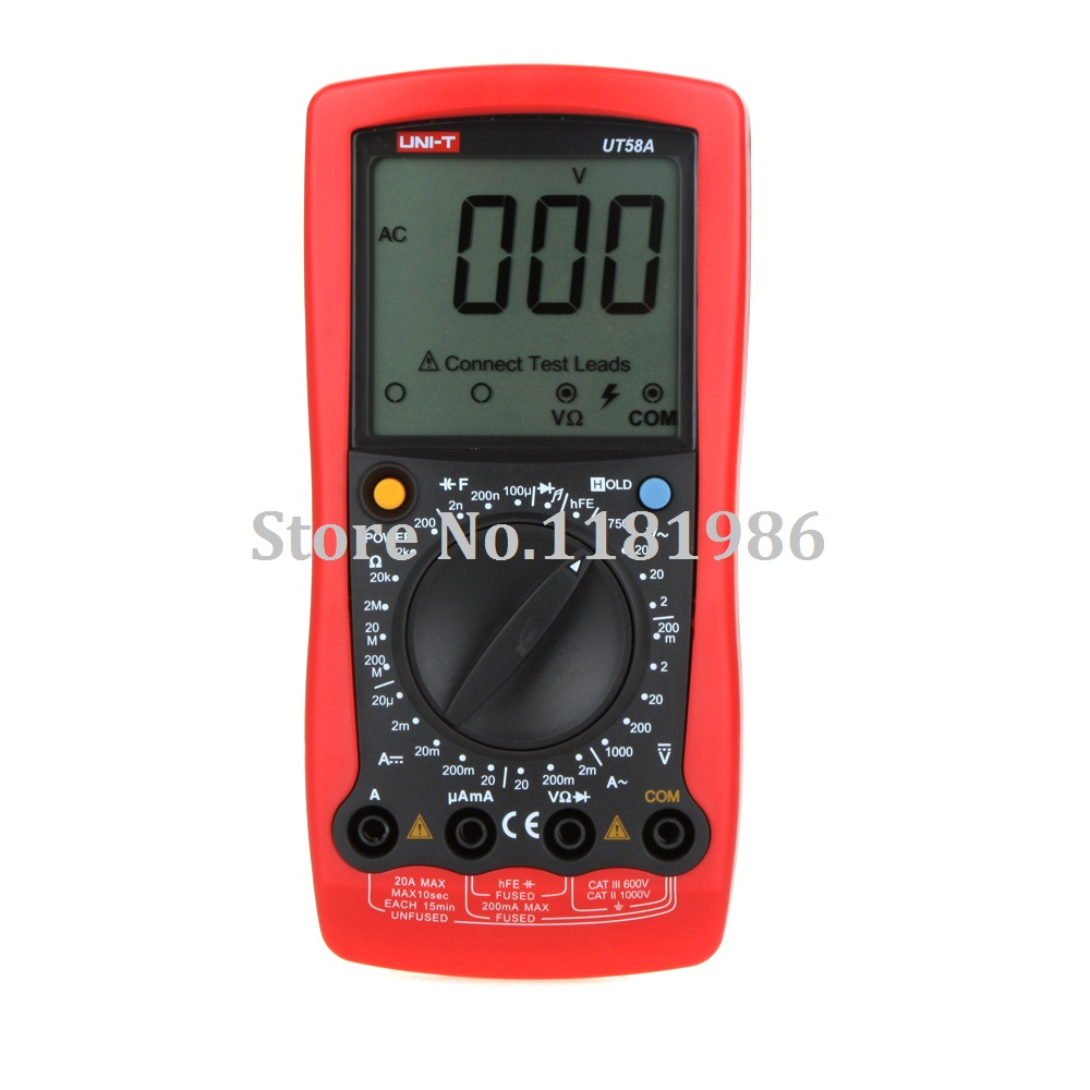 UNI-T UT58A Ammeter Multitester DMM Digital Multimeters DC/AC Voltage Current Resistance Capacitance Tester w/Data Hold  цены