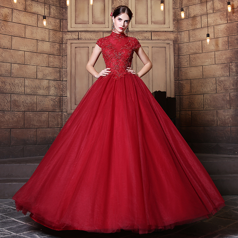 Elegant vintage dark red wedding dresses 2017 ball gowns for Red wedding dresses with sleeves