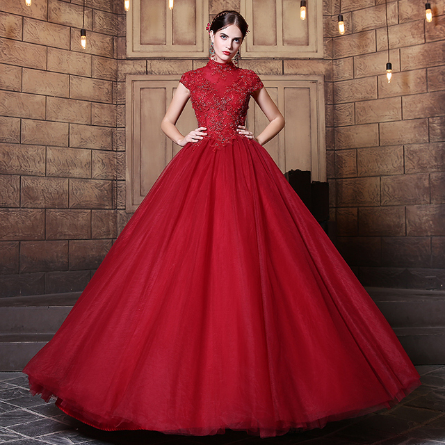 Vintage Wedding Dresses Usa: Elegant Vintage Dark Red Wedding Dresses 2019 Ball Gowns
