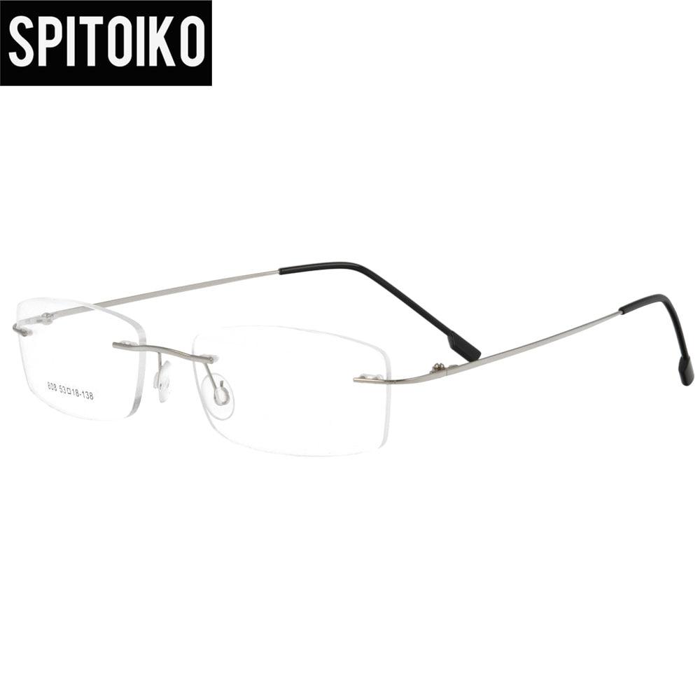 SPITOIKO kacamata rimless berengsel memori logam kacamata optik - Aksesori pakaian - Foto 6
