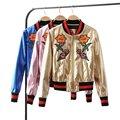 Осень Женщины Вышивка Цветочные PU Кожаная Куртка Металла С Длинным Рукавом Розовое Золото Королевский Синий Бейсбол Дамы Пальто