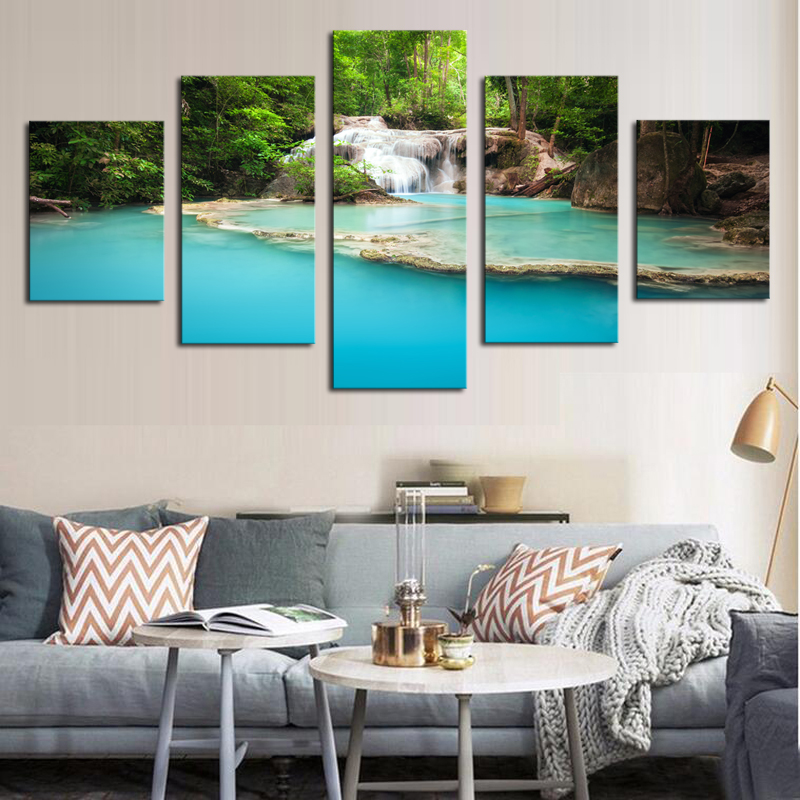 Unframed 5 Panels Modern Blue Lack HD Picture Canvas Print Painting Canvas Wall Art for Wall Decor Home Decoration Artwork