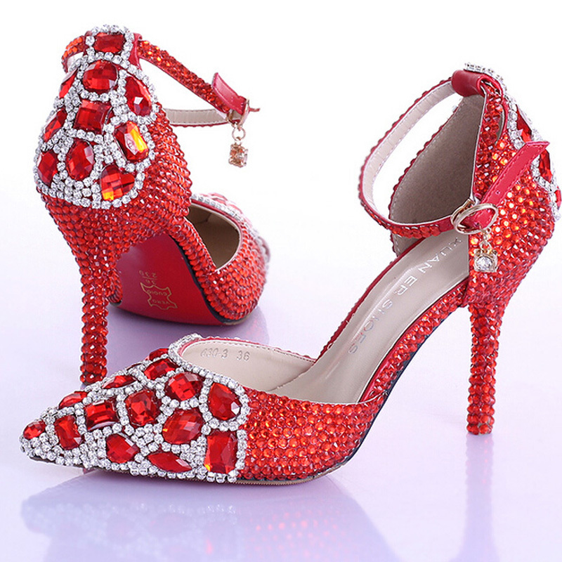 Gorgeous Pointed Toe Bridal High Heel Shoes Red Rhinestone Crystal Wedding Shoes with Ankle Strap Women Pumps Wedding Shoes aidocrystal new handmade crystal wedding shoes high heel rhinestone bridal shoes performance shoes flower women pumps decoration