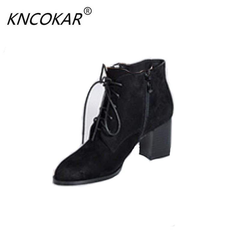 Autumn/winter 2017 hot style coarse heel tie short Martin boots round head and casual female bootAutumn/winter 2017 hot style coarse heel tie short Martin boots round head and casual female boot