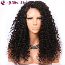 AliBlissWig Curly Human Hair Lace Front Wigs With Baby Hair Brazilian Remy Hair Right Side Part Natural Color Wig Bleached Knots