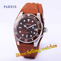 Parnis 40mm coffee dial luminous sapphire glass red ceramic bezel  Automatic movement watch