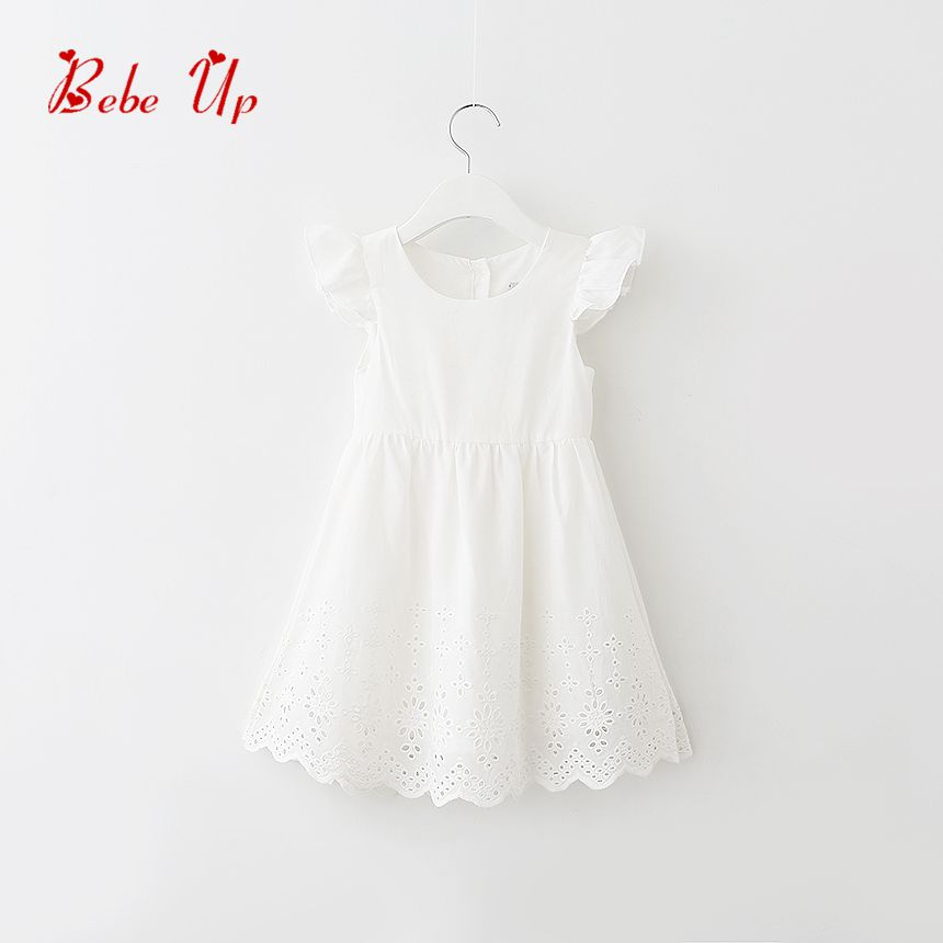 Baby Girls Cotton Dresses Sleeveless Summer 2017 Kids Toddle White Dress Children Princess Clothes Girls Party Birthday Clothing environmentally friendly pvc inflatable shell water floating row of a variety of swimming pearl shell swimming ring