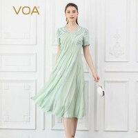 VOA 100% шелковое платье миди Для женщин мятно зеленого цвета с v образным вырезом «Mori Girl» летние плиссированные платья короткий рукав милые Эл