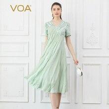 VOA 100% Silk Midi Dress Women Mint Green V Neck Mori Girl Summer Pleated Dresses Short Sleeve Sweet Cute Elegant vestido A10036