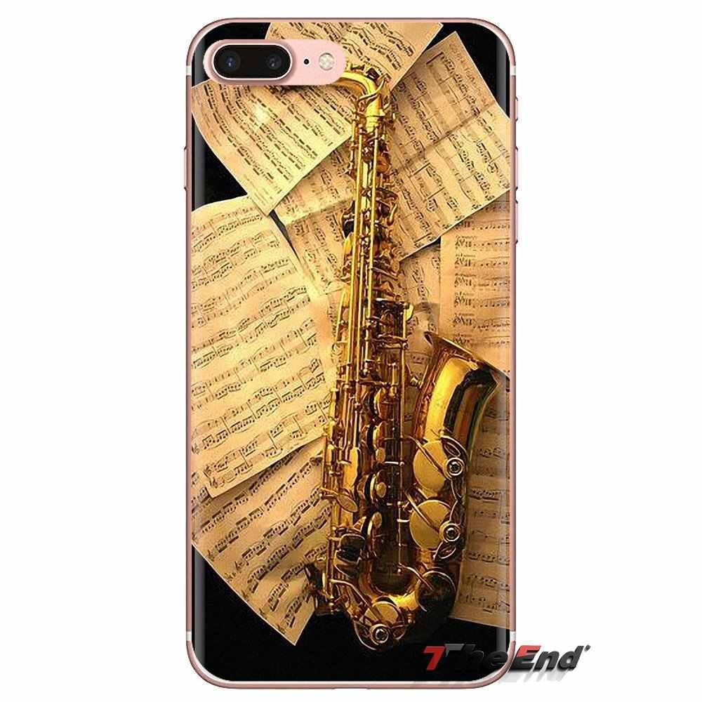 Suave transparente caso cubre saxofón música jazz símbolos para Samsung Galaxy A3 A5 A7 A9 A8 estrella A6 Plus 2018, 2015, 2016, 2017