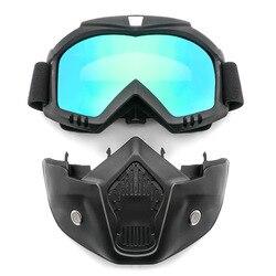 Óculos de segurança Máscara Facial Windproof Dustproof proteção UV-Óculos Máscara Removível Bicicleta Da Motocicleta óculos de Proteção Táticos Máscaras