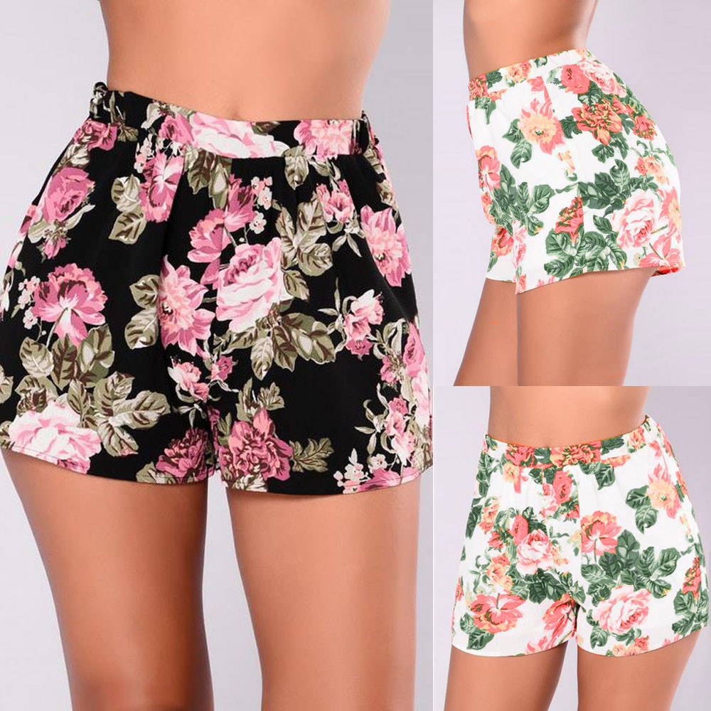Womail Brand High Quality Womens Swimsuits Womens Ladies High Waist Summer Floral Beach Hot Pants Shorts