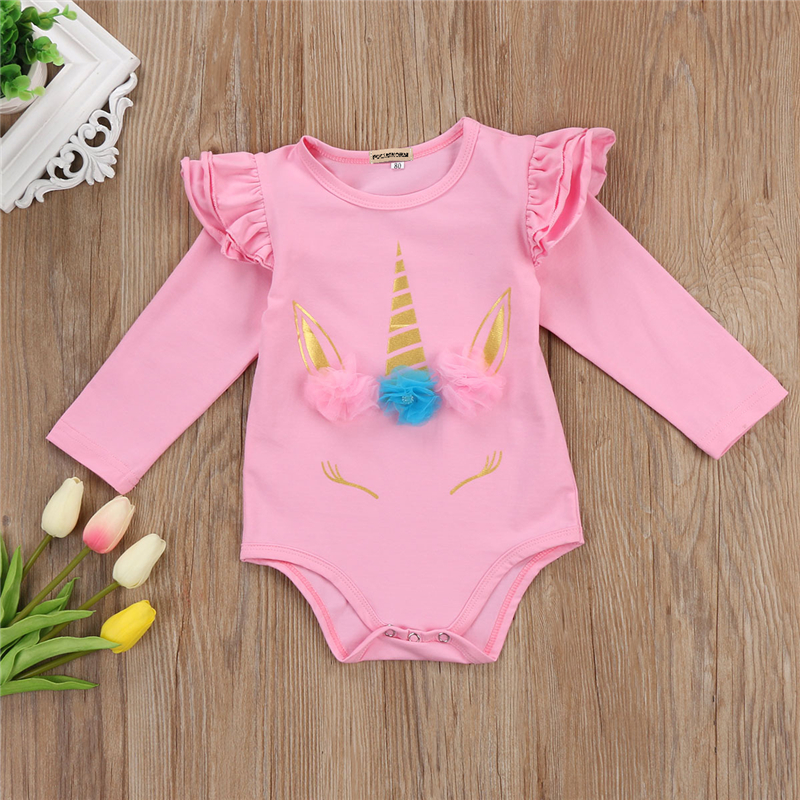 Newborn Baby Girls Clothes Long Fly Sleeve 3d Unicorn Printing