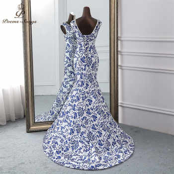 Poems Songs 2019 China evening dress blue flower elegant party dress mermaid dress evening gown robe longue soiree