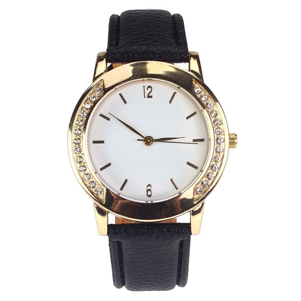 NEW Womens Diamond Analog Leather Quartz Wrist Watches ...