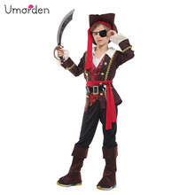 Umorden 2018 New Halloween Costumes for Boys Captain Pirate Costume One Eye Luxury Prince Cosplay Suit Boy Kids