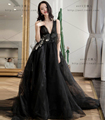 Elegant Deep V Neck Applique Lace Black Wedding Dresses Tulle Backless Sleeveless Gothic Wedding Gowns 2017 robe de marriage