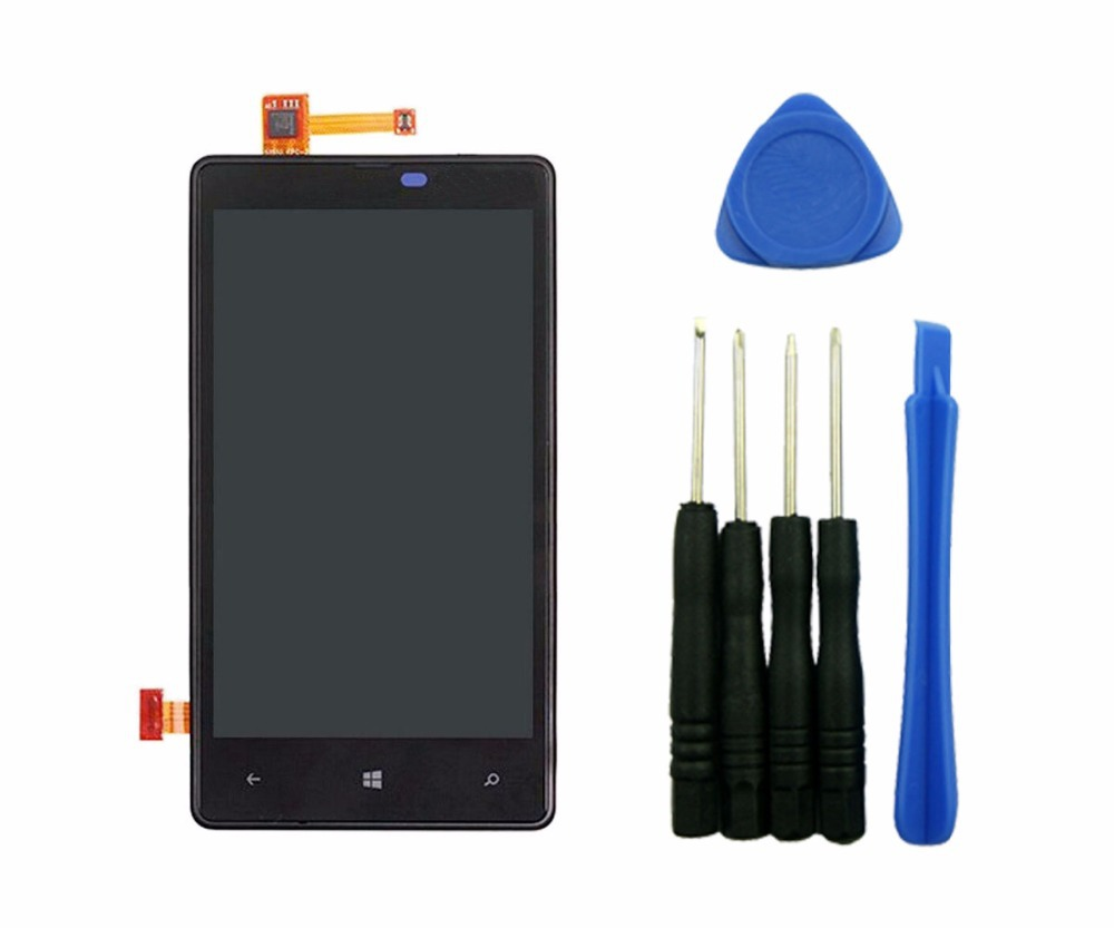 ФОТО Black LCD Display Touch Digitizer Screen Assembly + Frame For Nokia Lumia 820 With Tools High Quality